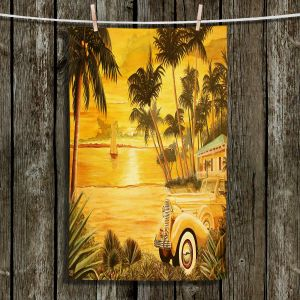 Unique Hanging Tea Towels | Mark Watts - Tropical Getaway | Trees Beach House Boats Ocean