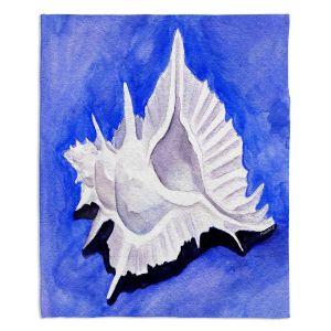 Decorative Fleece Throw Blankets | Marley Ungaro - Alabaster Murex | Ocean seashell still life nature