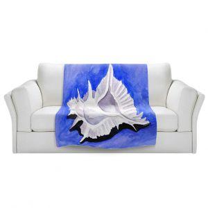 Artistic Sherpa Pile Blankets   Marley Ungaro - Alabaster Murex   Ocean seashell still life nature