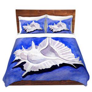Artistic Duvet Covers and Shams Bedding | Marley Ungaro - Alabaster Murex | Ocean seashell still life nature