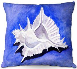 Decorative Outdoor Patio Pillow Cushion | Marley Ungaro - Alabaster Murex | Ocean seashell still life nature
