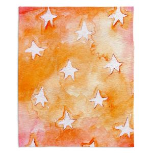 Decorative Fleece Throw Blankets | Marley Ungaro - Artsy Orange Stars
