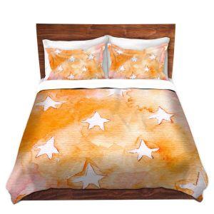 Artistic Duvet Covers and Shams Bedding | Marley Ungaro - Artsy Orange Stars