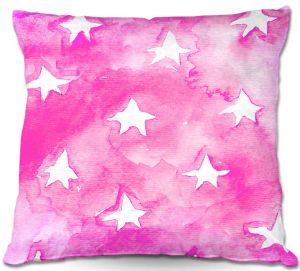 Decorative Outdoor Patio Pillow Cushion | Marley Ungaro - Artsy Pink Stars