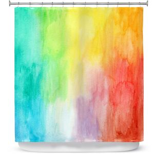 Unique Shower Curtain from DiaNoche Designs by Marley Ungaro - Artsy Rainbow Wash