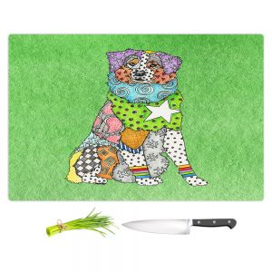 Artistic Kitchen Bar Cutting Boards | Marley Ungaro - Australian Shepherd Green | Abstract pattern whimsical