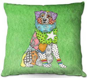 Decorative Outdoor Patio Pillow Cushion | Marley Ungaro - Australian Shepherd Green | Abstract pattern whimsical