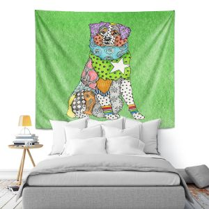 Artistic Wall Tapestry | Marley Ungaro - Australian Shepherd Green | Abstract pattern whimsical