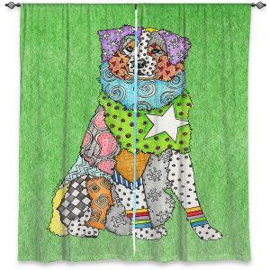 Decorative Window Treatments   Marley Ungaro - Australian Shepherd Green   Abstract pattern whimsical