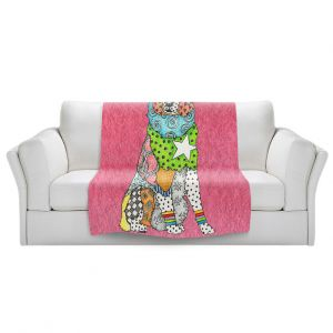 Artistic Sherpa Pile Blankets   Marley Ungaro - Australian Shepherd Pink   Abstract pattern whimsical