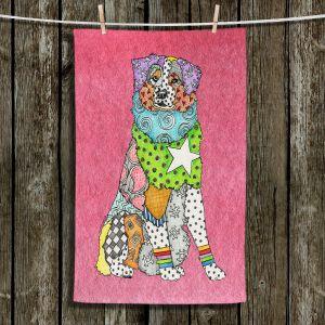 Unique Hanging Tea Towels | Marley Ungaro - Australian Shepherd Pink | Abstract pattern whimsical