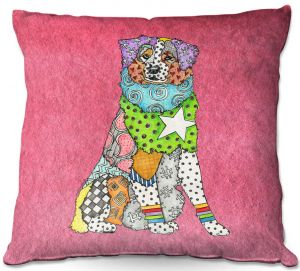 Decorative Outdoor Patio Pillow Cushion | Marley Ungaro - Australian Shepherd Pink | Abstract pattern whimsical