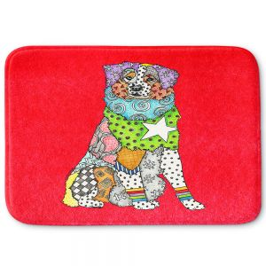 Decorative Bathroom Mats | Marley Ungaro - Australian Shepherd Red | Abstract pattern whimsical
