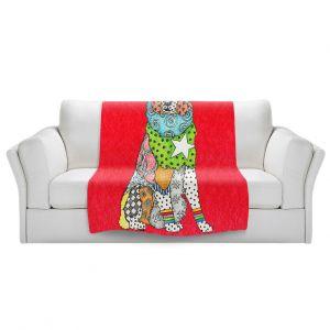Artistic Sherpa Pile Blankets   Marley Ungaro - Australian Shepherd Red   Abstract pattern whimsical