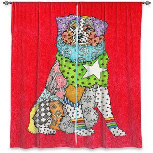 Decorative Window Treatments   Marley Ungaro - Australian Shepherd Red   Abstract pattern whimsical
