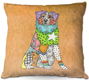 Decorative Outdoor Patio Pillow Cushion | Marley Ungaro - Australian Shepherd Tan | Abstract pattern whimsical