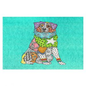 Decorative Floor Covering Mats | Marley Ungaro - Australian Shepherd Turquoise | Abstract pattern whimsical