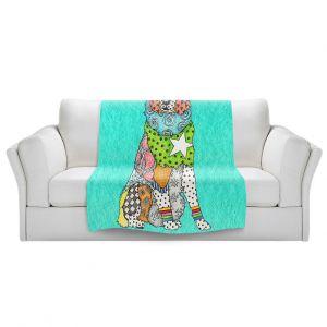 Artistic Sherpa Pile Blankets   Marley Ungaro - Australian Shepherd Turquoise   Abstract pattern whimsical