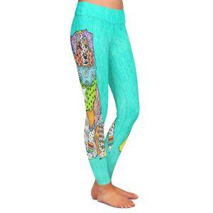 Casual Comfortable Leggings | Marley Ungaro - Australian Shepherd Turquoise | Abstract pattern whimsical