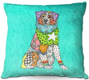 Decorative Outdoor Patio Pillow Cushion | Marley Ungaro - Australian Shepherd Turquoise | Abstract pattern whimsical