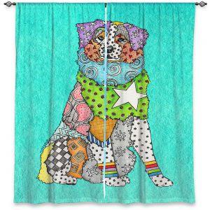 Decorative Window Treatments | Marley Ungaro - Australian Shepherd Turquoise | Abstract pattern whimsical