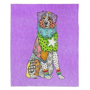 Artistic Sherpa Pile Blankets   Marley Ungaro - Australian Shepherd Violet   Abstract pattern whimsical