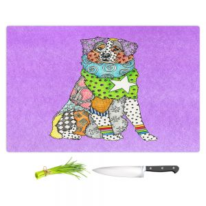 Artistic Kitchen Bar Cutting Boards | Marley Ungaro - Australian Shepherd Violet | Abstract pattern whimsical