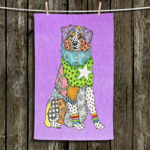 Unique Hanging Tea Towels | Marley Ungaro - Australian Shepherd Violet | Abstract pattern whimsical