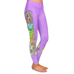 Casual Comfortable Leggings | Marley Ungaro - Australian Shepherd Violet | Abstract pattern whimsical