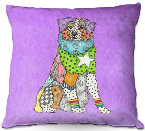 Decorative Outdoor Patio Pillow Cushion | Marley Ungaro - Australian Shepherd Violet | Abstract pattern whimsical