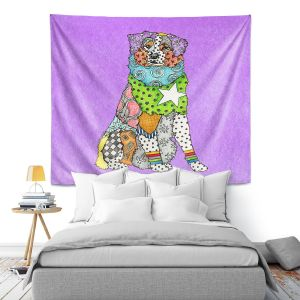 Artistic Wall Tapestry   Marley Ungaro - Australian Shepherd Violet   Abstract pattern whimsical
