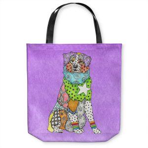 Unique Shoulder Bag Tote Bags   Marley Ungaro - Australian Shepherd Violet   Abstract pattern whimsical