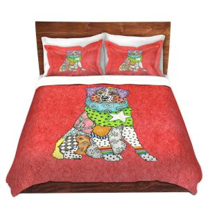 Artistic Duvet Covers and Shams Bedding | Marley Ungaro - Australian Shepherd Watermelon | Abstract pattern whimsical