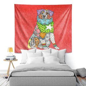 Artistic Wall Tapestry | Marley Ungaro - Australian Shepherd Watermelon | Abstract pattern whimsical
