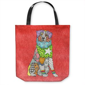 Unique Shoulder Bag Tote Bags | Marley Ungaro - Australian Shepherd Watermelon | Abstract pattern whimsical