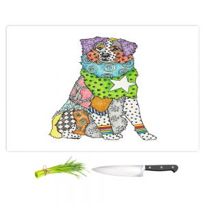 Artistic Kitchen Bar Cutting Boards | Marley Ungaro - Australian Shepherd White | Abstract pattern whimsical