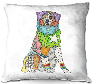 Decorative Outdoor Patio Pillow Cushion | Marley Ungaro - Australian Shepherd White | Abstract pattern whimsical