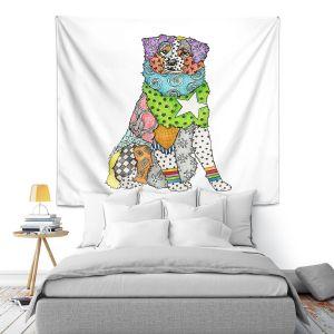 Artistic Wall Tapestry | Marley Ungaro - Australian Shepherd White | Abstract pattern whimsical
