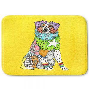 Decorative Bathroom Mats | Marley Ungaro - Australian Shepherd Yellow | Abstract pattern whimsical