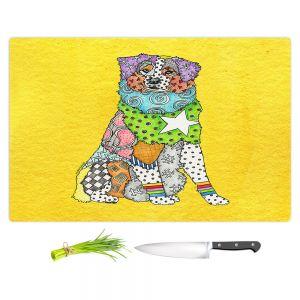 Artistic Kitchen Bar Cutting Boards | Marley Ungaro - Australian Shepherd Yellow | Abstract pattern whimsical