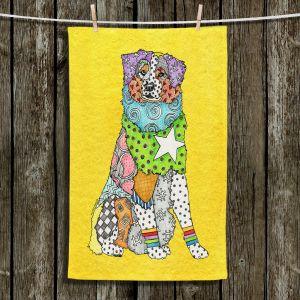 Unique Bathroom Towels | Marley Ungaro - Australian Shepherd Yellow | Abstract pattern whimsical