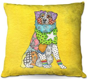 Throw Pillows Decorative Artistic   Marley Ungaro - Australian Shepherd Yellow   Abstract pattern whimsical