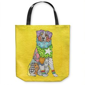 Unique Shoulder Bag Tote Bags   Marley Ungaro - Australian Shepherd Yellow   Abstract pattern whimsical