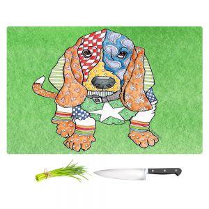 Artistic Kitchen Bar Cutting Boards | Marley Ungaro - Basset Hound Dog Green