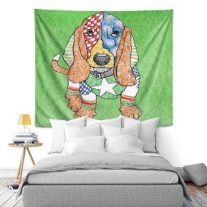 Artistic Wall Tapestry | Marley Ungaro Basset Hound Dog Green