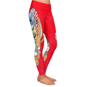 Casual Comfortable Leggings | Marley Ungaro Basset Hound Dog Red