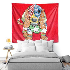 Artistic Wall Tapestry   Marley Ungaro Basset Hound Dog Red