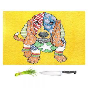 Artistic Kitchen Bar Cutting Boards | Marley Ungaro - Basset Hound Dog Yellow