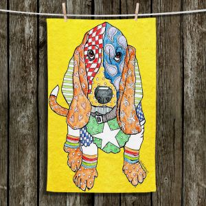 Unique Bathroom Towels | Marley Ungaro - Basset Hound Dog Yellow