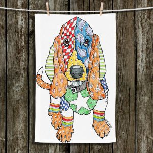 Unique Bathroom Towels | Marley Ungaro - Basset Hound Dog White